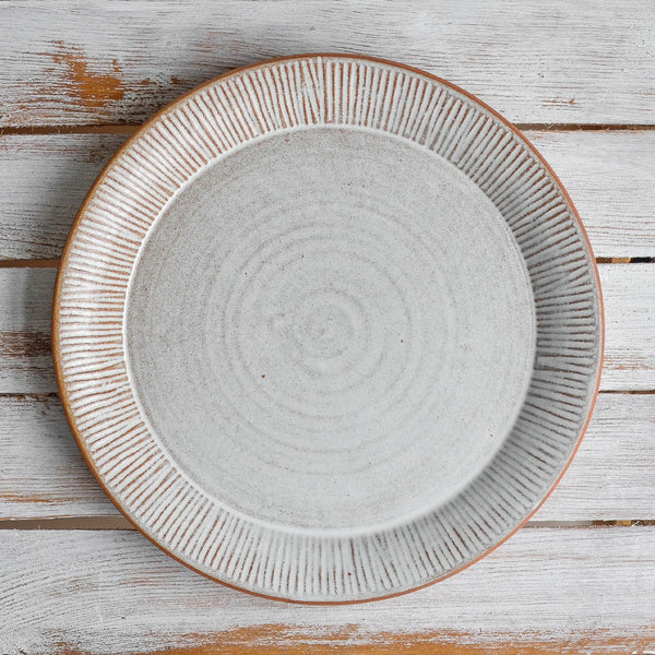 Stoneware Fluted Forest Dinner Plate Large Unglazed Rim - Nom Living