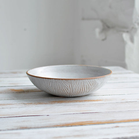 Fluted Forest Pasta Bowl, Unglazed Rim