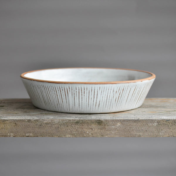 Stoneware Fluted Forest Reversible Pedestal Bowl Large - Nom Living