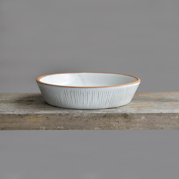 Stoneware Fluted Forest Reversible Pedestal Bowl Small - Nom Living