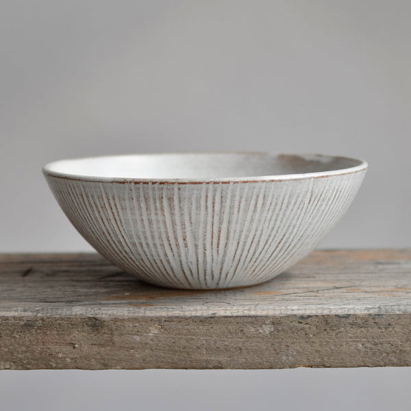Stoneware Fluted Forest Large Soup Bowl - Nom Living