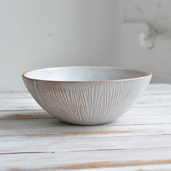Stoneware Fluted Forest Large Soup Bowl, Unglazed Rim - Nom Living