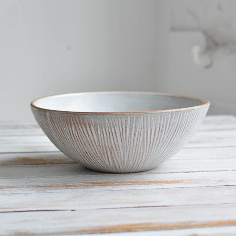 Fluted Forest Soup Bowl, Unglazed Rim