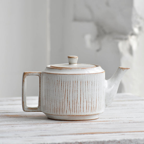 Nom Living Fluted Forest Stoneware Teapot, 800 ml, Tea ware, Snow White