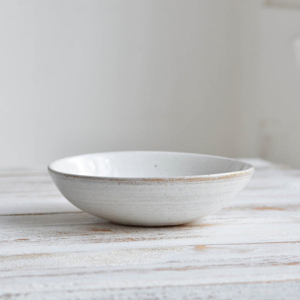 Hand Thrown Pasta Bowl, Shiny White Thin- Nom Living