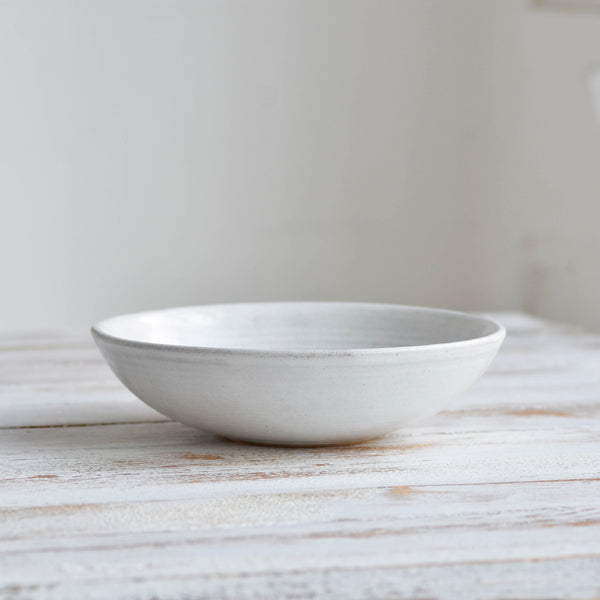 Hand Thrown Pasta Bowl, Shiny White Thick- Nom Living