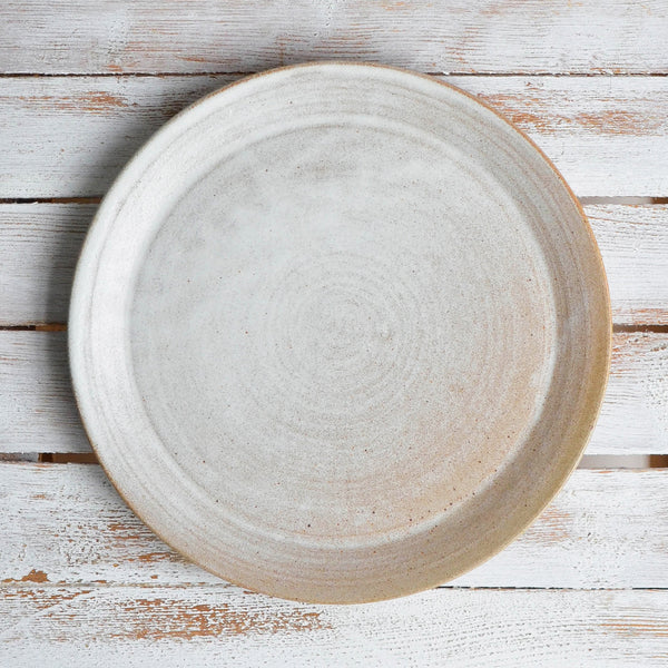 Rustic Stoneware Hand Thrown Dinner Plate, Shallow, Snow White Thin - Nom Living