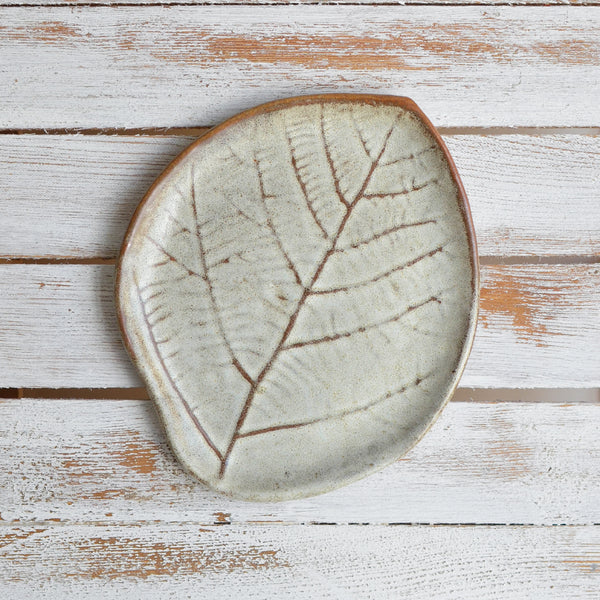 Nom Living Stoneware Leaf Plate, Earth Green
