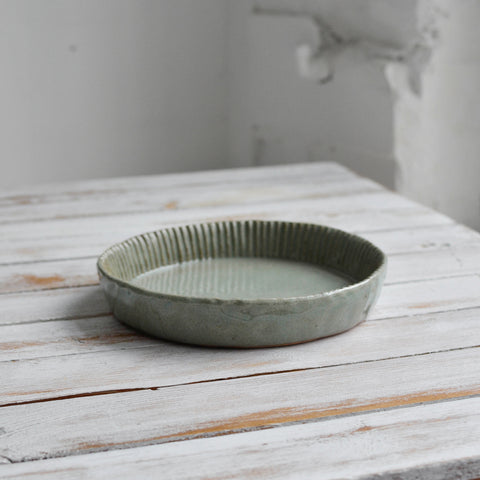 Fluted Quiche Mould, Celadon Grey