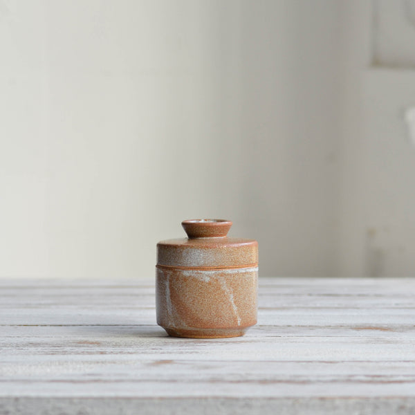 Stoneware ceramic Spice Jar container, Snow White Thin - Nom Living