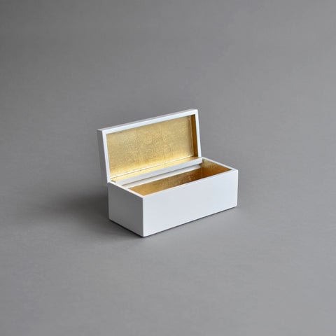 Vanity Box Hinged, Pale Gold & White