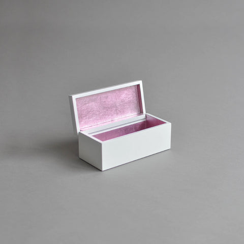 Vanity Box Hinged, Pastel Pink & White
