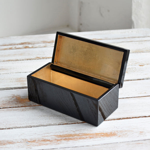 Nom Living, Hinged Vanity Box, Pale Gold & Black
