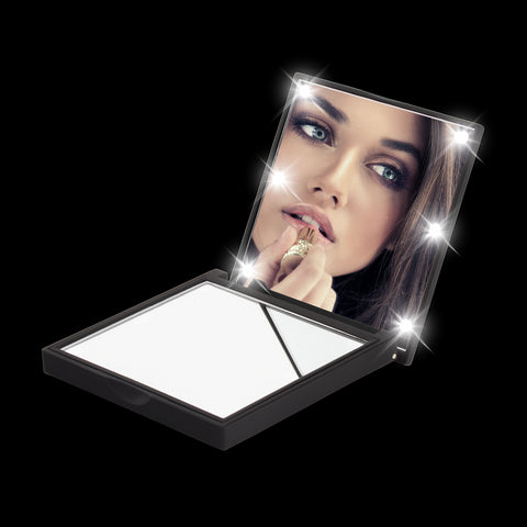 FLO Compact LED Makeup Mirror (Prestige Soft Touch Finish) - Amirose London