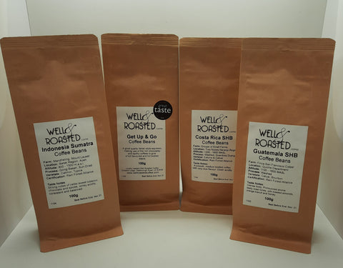 Coffee Taster Pack _ 4 x 100g Bags - Well Roasted Coffee