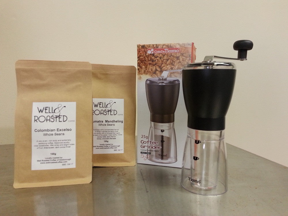 Coffee  Apprentice Pack _ Tiamo Burr Grinder plus 2 x 100g bags of coffee beans - Well Roasted Coffee