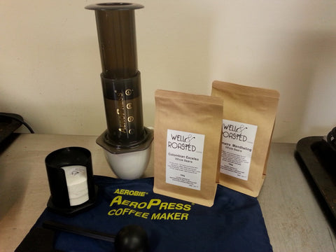 Coffee Home Brew Pack _ Aeropress Coffee Maker _ 2 x 100g Bags Coffee Medium Grind - Well Roasted Coffee