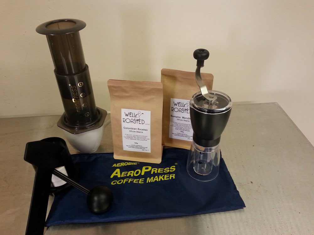 Coffee Home Barista Pack _ Aeropress _ Tiamo Grinder _ 2 x 100g Bags Coffee beans - Well Roasted Coffee