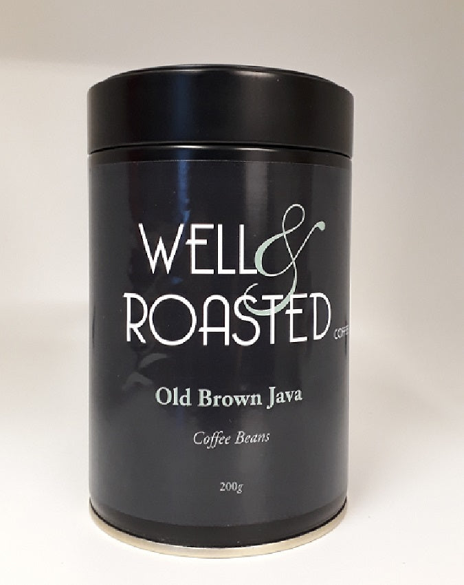 Old Brown Java Coffee Beans in Reusable Tins - Well Roasted Coffee