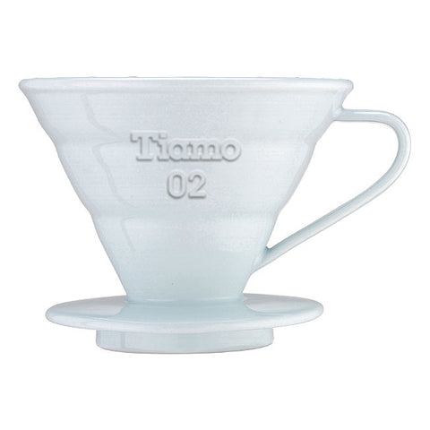 Tiamo V02 White Ceramic Coffee Dripper + 40 Filter Papers - Well Roasted Coffee