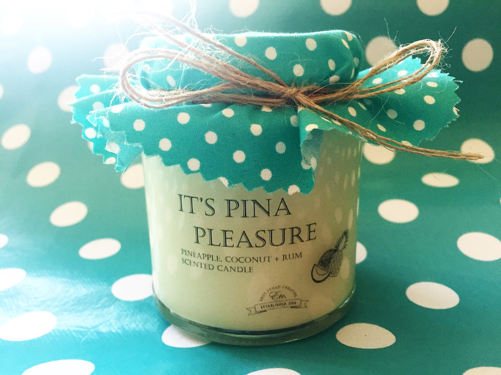 'It's Pina Pleasure' fragranced soy wax candle