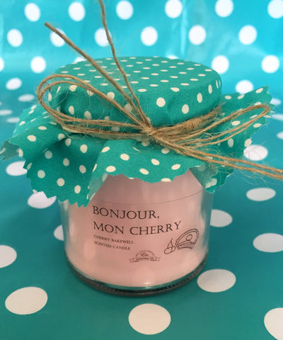 'Bonjour Mon Cherry' fragranced soy wax candle