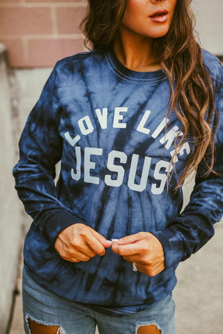 Love Like Jesus | TIE DYE | NAVY | Long Sleeve