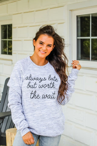 Always Late | Light Grey Marble | Long Sleeve Fleece