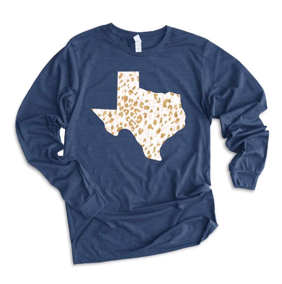 Texas Leopard | Glitter | Long Sleeve | Navy