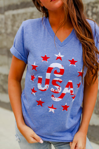 USA Stars | Short Sleeve | V-Neck