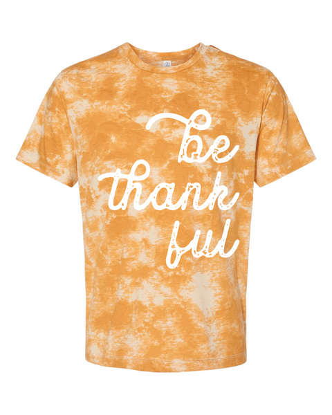 Be Thankful  | Short Sleeve | Mustard Tie Dye