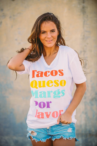 Tacos, Queso, Margs | White | Short Sleeve