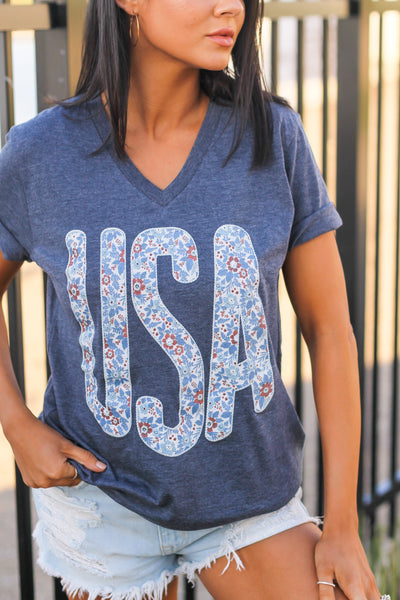 USA | Floral | Heather Navy
