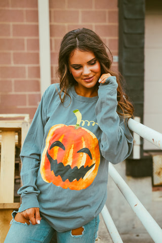 Happy Pumpkin | Long Sleeve | Cypress Green