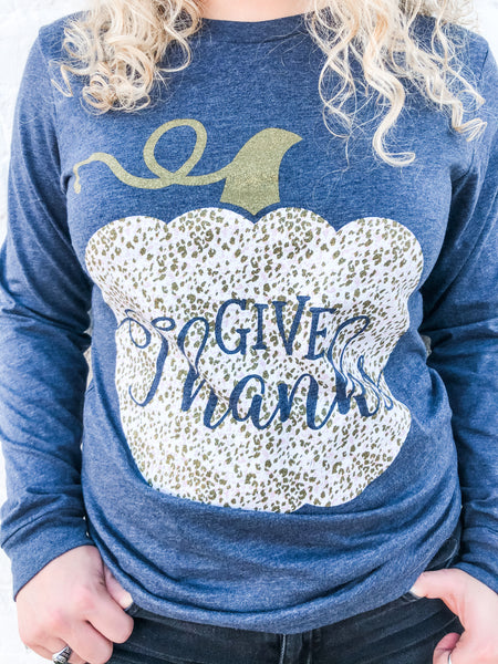 Give Thanks | Glitter | Long Sleeve | Navy