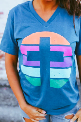 Spring Cross | Teal | Vneck | Short Sleeve