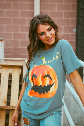 Happy Pumpkin | Short Sleeve | Cypress Green
