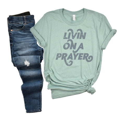 Livin On A Prayer | Heather Dusty Blue | Short Sleeve
