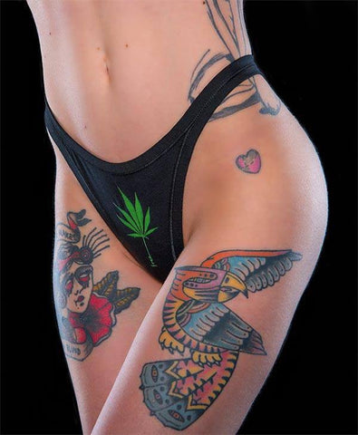 DREAM QUEEN THONG GREEN LEAF BLACK CANNABEFREE