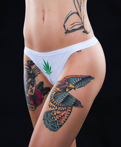 DREAM QUEEN THONG GREEN LEAF CANNABEFREE panties mutandine slip cannabis marijuana