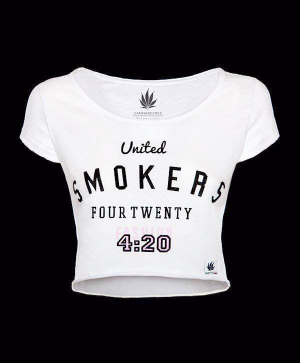 Crop top t-shirt 420 weed marijuana cannabis cannabefree maglietta