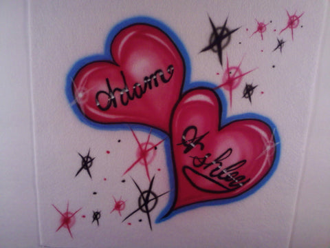 e6a69ea56 Airbrushed Couples Heart Name Design T-Shirt or Hoodie - Perfection  Airbrushing