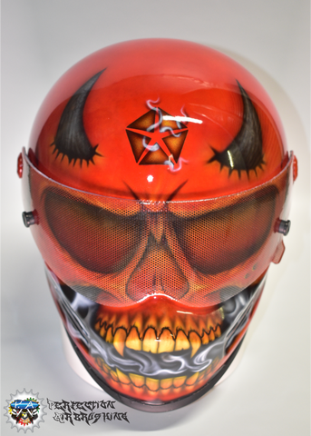DEVIL SKULL Simpson Racing or Motorcycle Helmet - Perfection Airbrushing