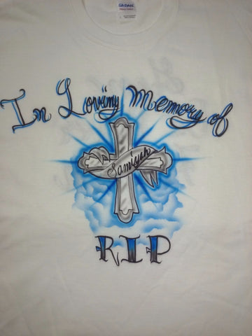 Airbrushed RIP Cross Design TShirt or Hoodie Youth or Adult - Perfection Airbrushing