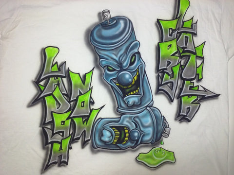 Airbrush GRAFFITI LAUGH NOW CRY LATER Spray Can Design - Perfection Airbrushing