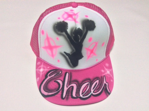 Airbrushed Cheer Design hat - Perfection Airbrushing