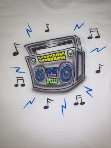 Airbrush 80's BOOMBOX RADIO Design - Perfection Airbrushing