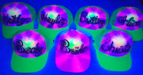 LoT of 7 BACHELORETTE BLACKLIGHT Party Hats - Perfection Airbrushing