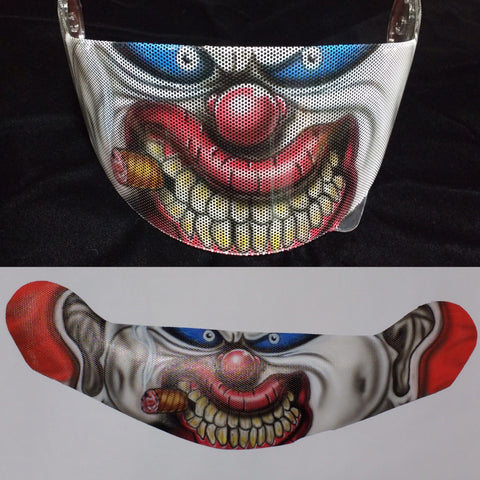 Evil Clown Airbrushed Helmet Shield Graphic - Perfection Airbrushing