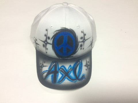Airbrushed Peace Sign Name hat
